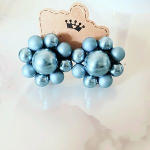 Gray Faux Pearl Earrings Vintage Pinup Clip